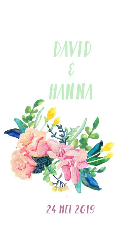 Trouwkaarten - Trouwkaart met bloemen