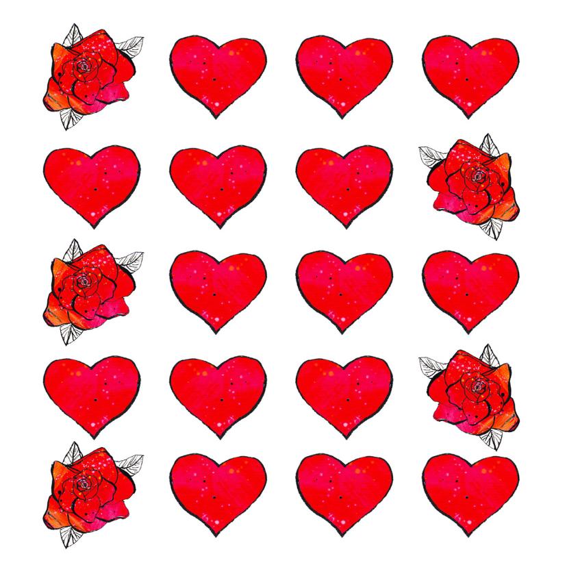 Trouwkaarten - trouwkaart met hartjes roosjes