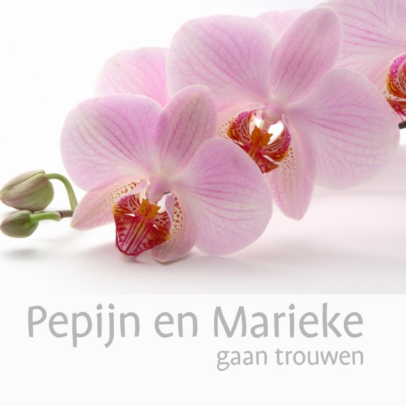 Trouwkaarten - Trouwkaart met orchidee