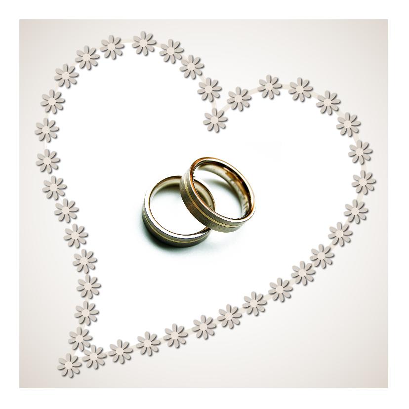Trouwkaart met ringen en bloemen   Trouwkaarten   Kaartje2go
