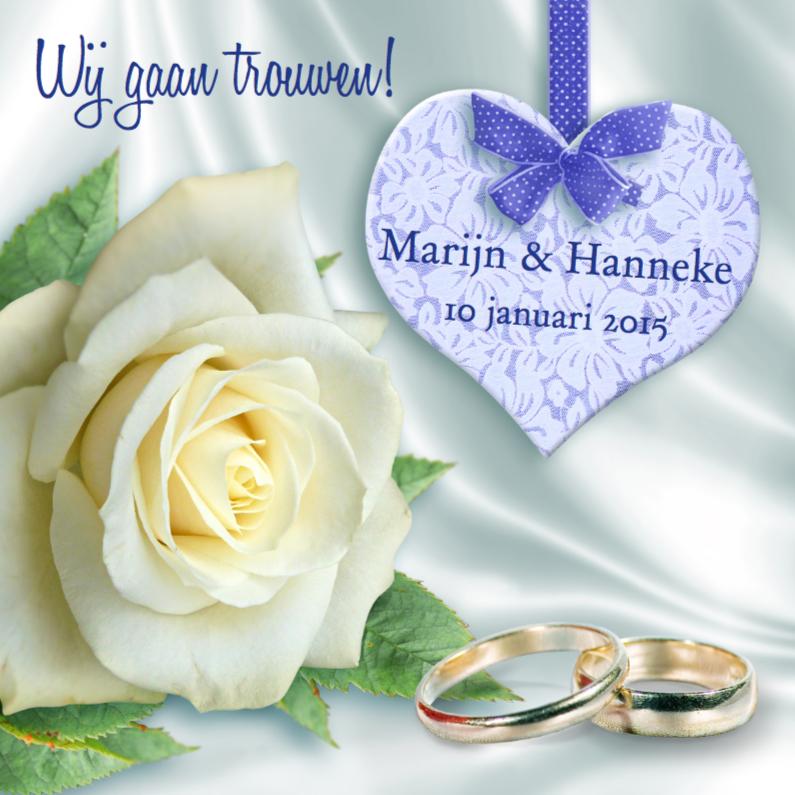 Trouwkaarten - Trouwkaart met roos en hart wit