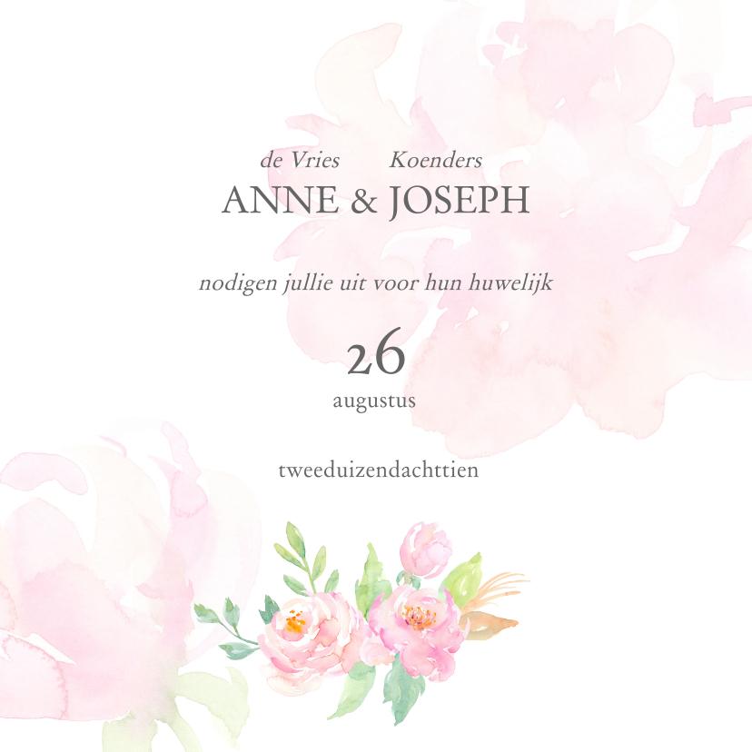 Trouwkaarten - Trouwkaart met rozen aquarel