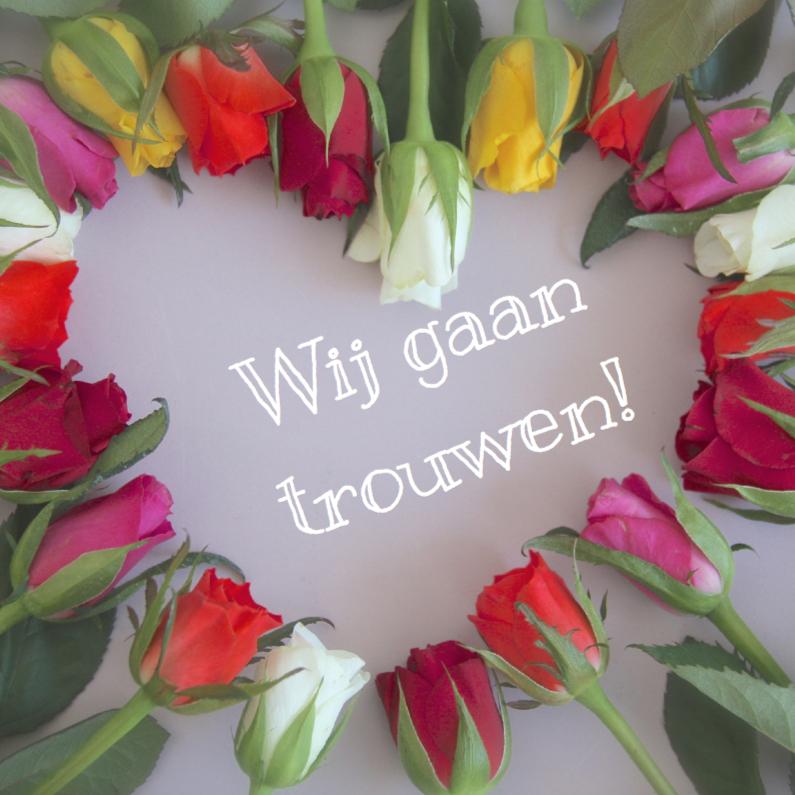 Trouwkaarten - Trouwkaart met rozenhartje