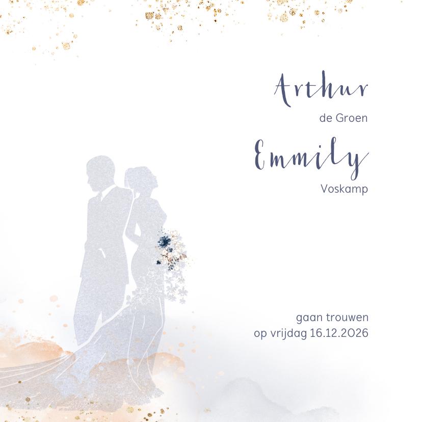 Trouwkaarten - Trouwkaart met silhouet bruidspaar