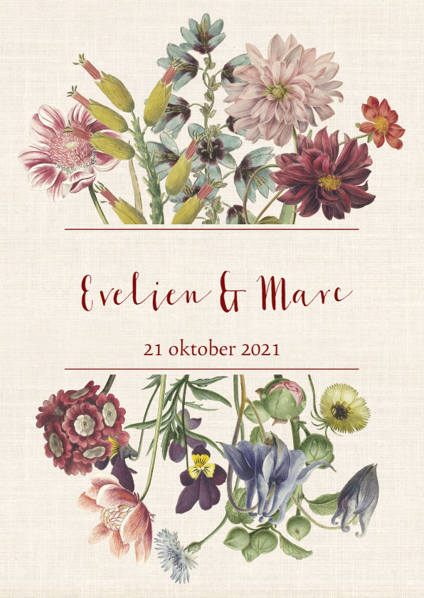 Trouwkaarten - Trouwkaart met stijlvolle pastelkleurige bloemen