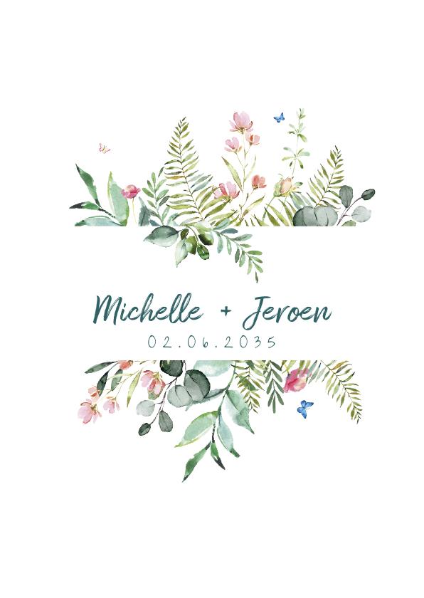 Trouwkaarten - Trouwkaart met wilde bloemen