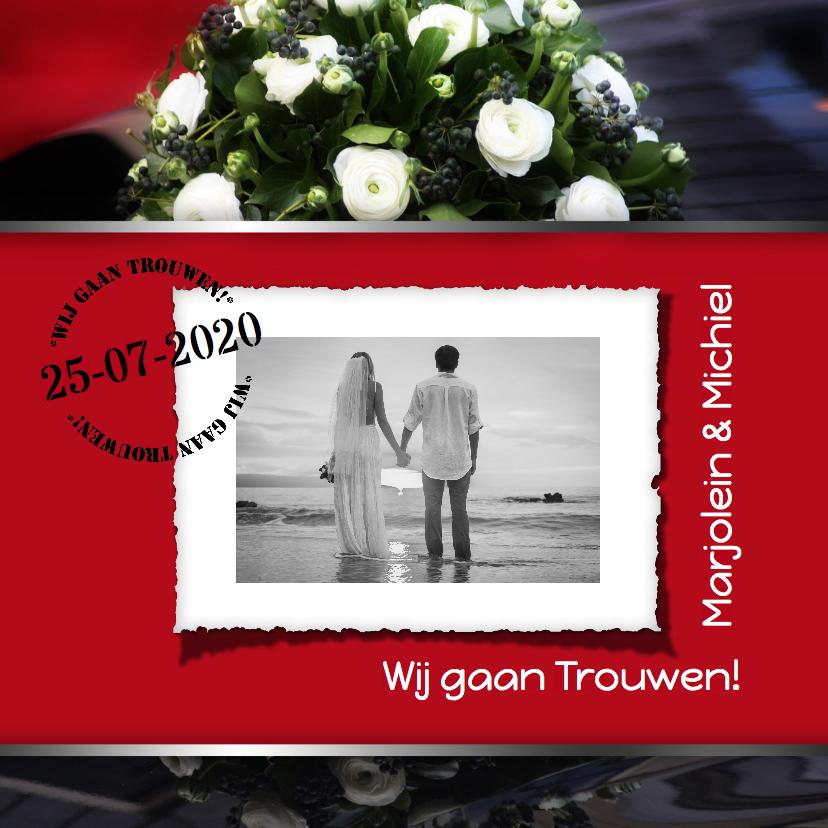 Trouwkaarten - Trouwkaart modern foto RB