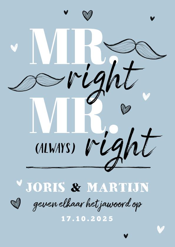 Trouwkaarten - Trouwkaart MR & MR always right grappig illustratie doodle