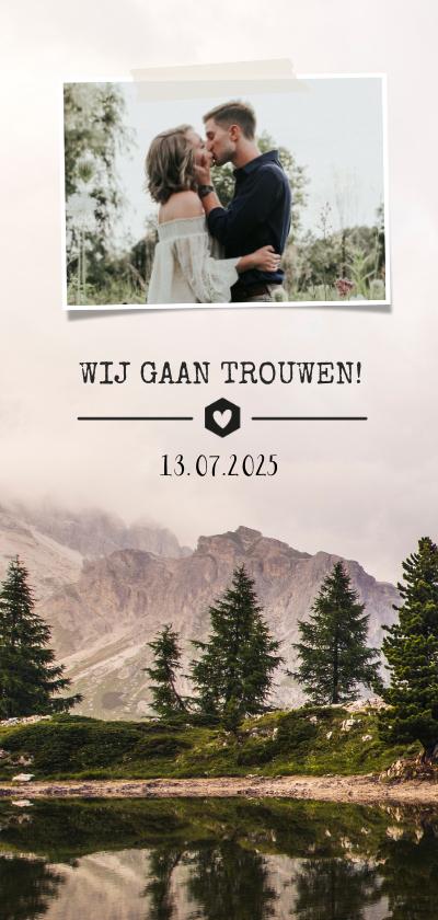 Trouwkaarten - Trouwkaart natuur berglandschap met eigen foto en trouwdatum