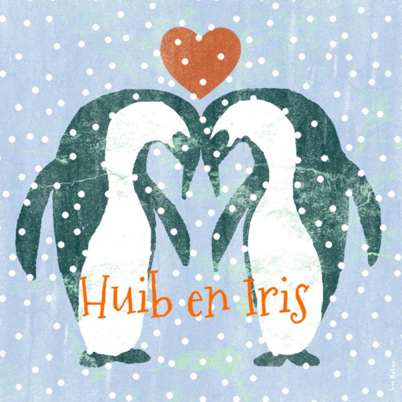 Trouwkaarten - Trouwkaart pinguïns