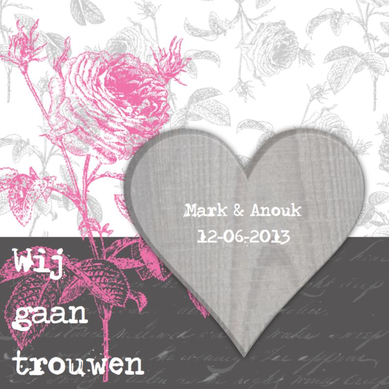Trouwkaarten - Trouwkaart Pink Rose