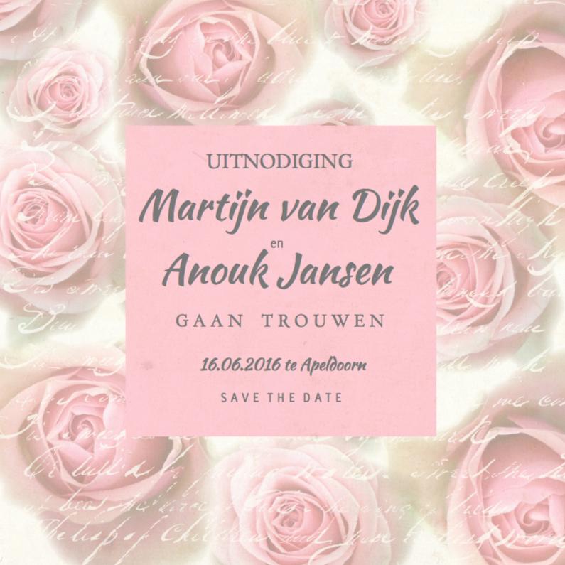 Trouwkaarten - Trouwkaart Pink Roses Vintage