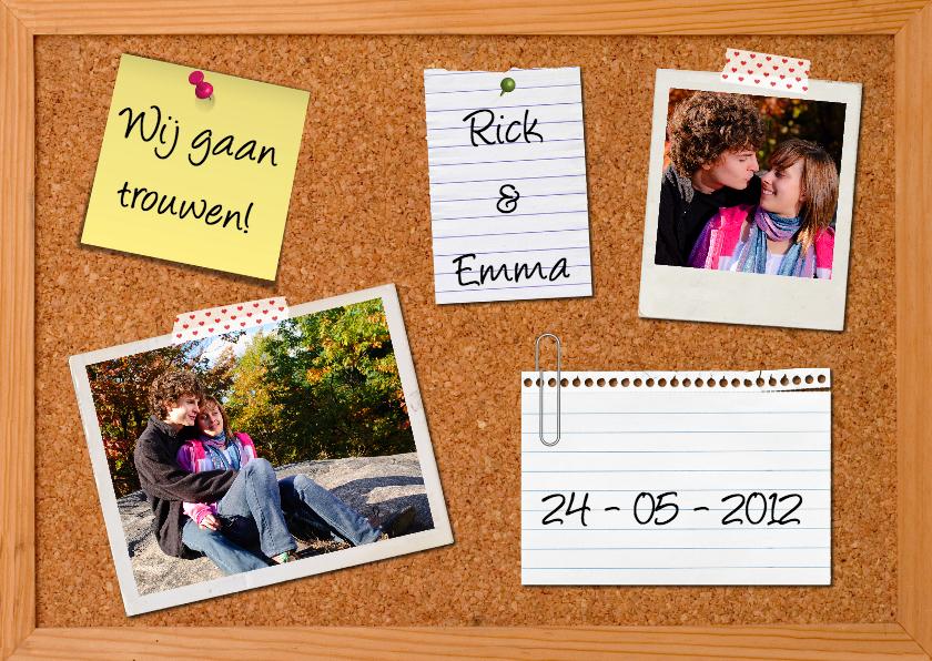 Trouwkaarten - Trouwkaart Prikbord Polaroid