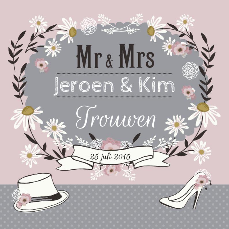 Trouwkaarten - Trouwkaart romance retro