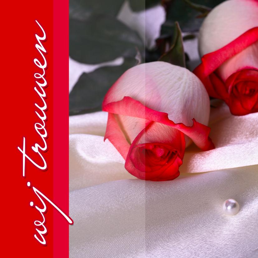Trouwkaarten - Trouwkaart rood met rode rozen