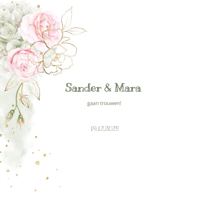 Trouwkaarten - Trouwkaart roze rozen met goud