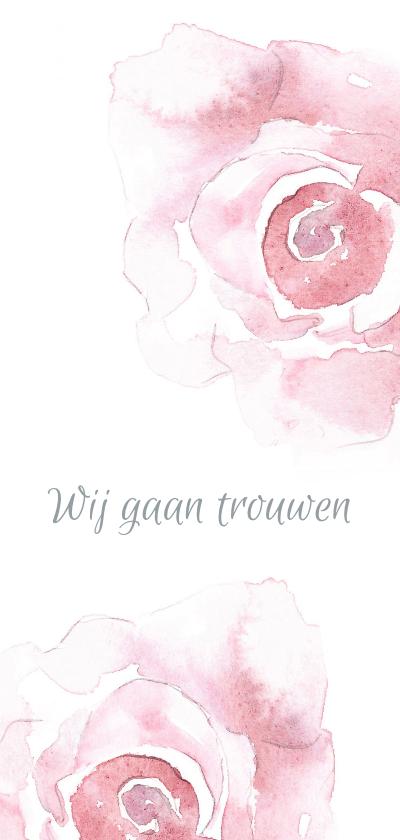 Trouwkaarten - Trouwkaart Rozen in bloei