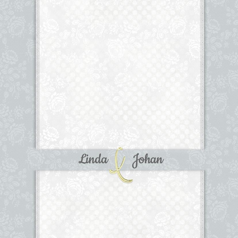 Trouwkaarten - Trouwkaart rozen wit-grijs-groen