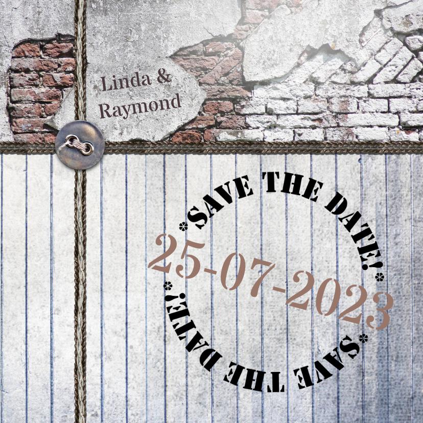 Trouwkaarten - Trouwkaart rustiek hout en steen