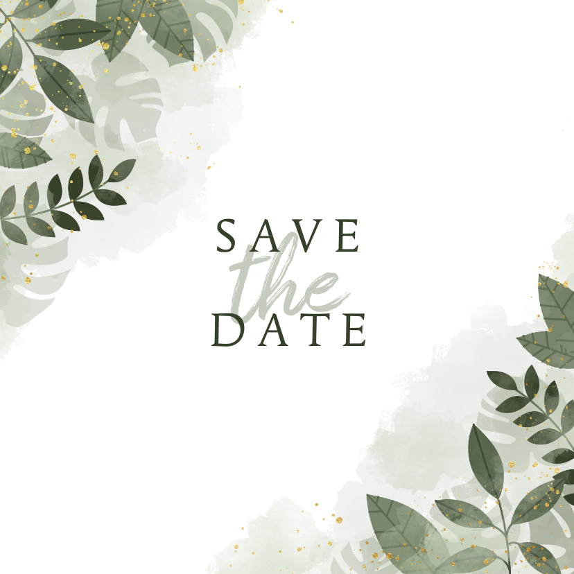 Trouwkaarten - Trouwkaart save the date botanisch met waterverf