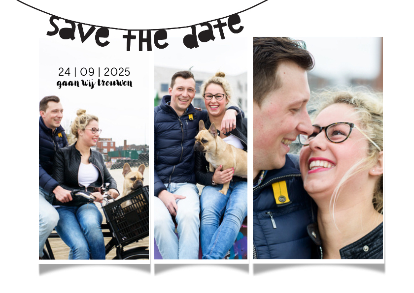 Trouwkaarten - Trouwkaart save the date collage Yes