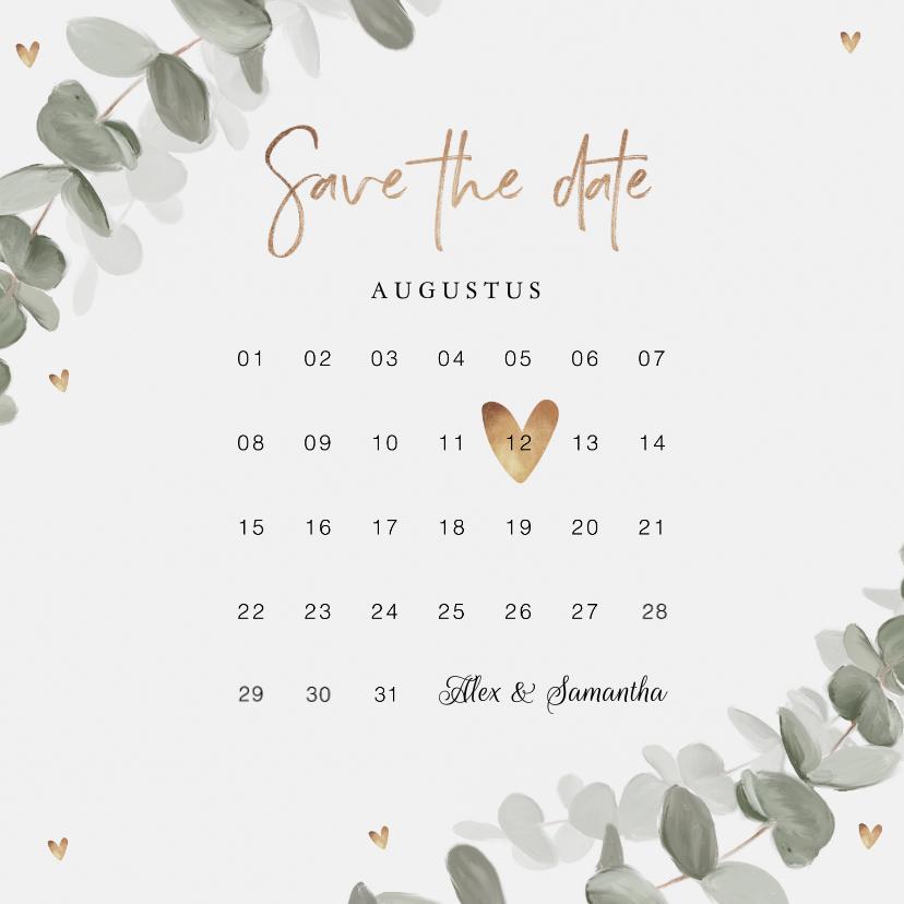 Trouwkaarten - Trouwkaart save the date eucalyptus goud hartjes