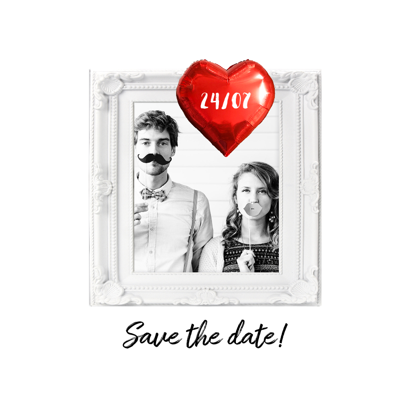 Trouwkaarten - Trouwkaart save the date folie ballon hart