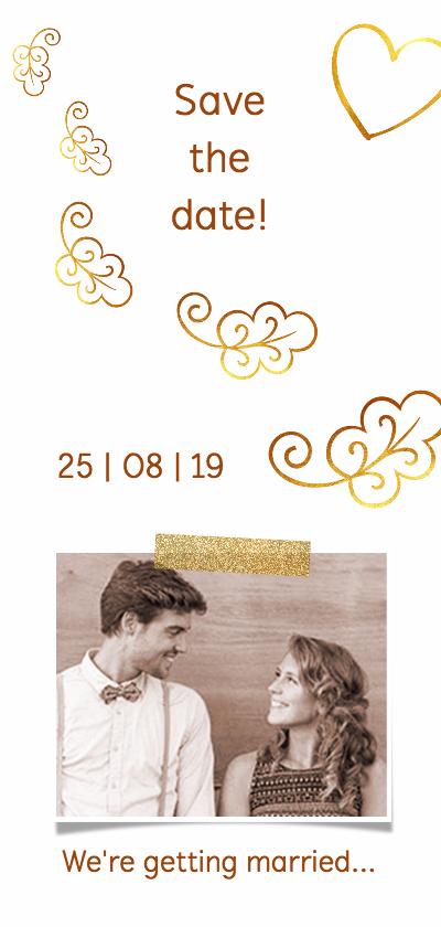 Trouwkaarten - Trouwkaart save the date glitter