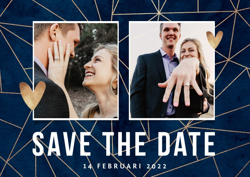 Trouwkaarten - Trouwkaart save the date goud geometrisch foto