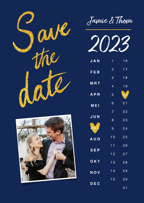 Trouwkaarten - Trouwkaart save the date goud kalender