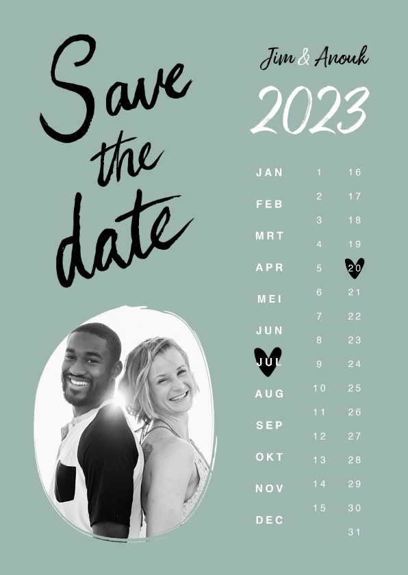 Trouwkaarten - Trouwkaart save the date hip kalender hartjes