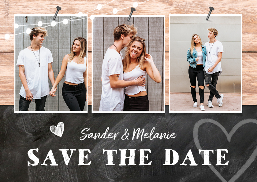 Trouwkaarten - Trouwkaart save the date hout krijtbord foto's