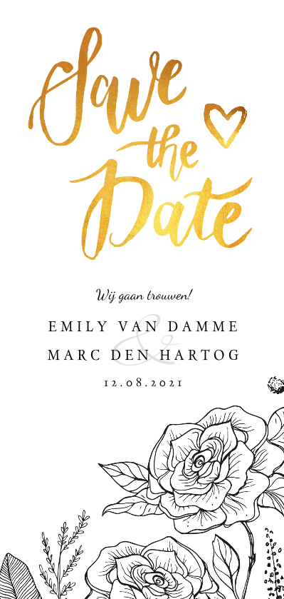 Trouwkaarten - Trouwkaart save the date klassiek met bloemen en kalender