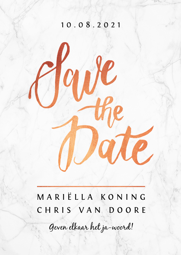 Trouwkaarten - Trouwkaart save the date marmerlook met rosé goud letters