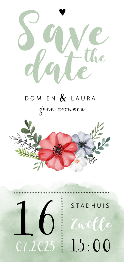Trouwkaarten - Trouwkaart Save the date met waterverf en bloemen
