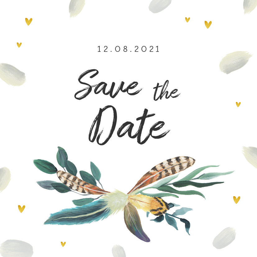 Trouwkaarten - Trouwkaart save the date romantisch met veren en hartjes