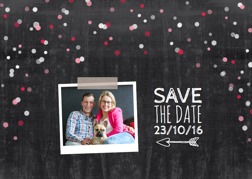 Trouwkaarten - Trouwkaart save the date stip