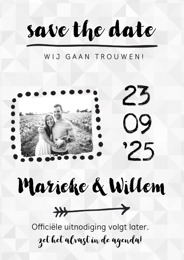 Trouwkaarten - Trouwkaart save the date uitnodiging