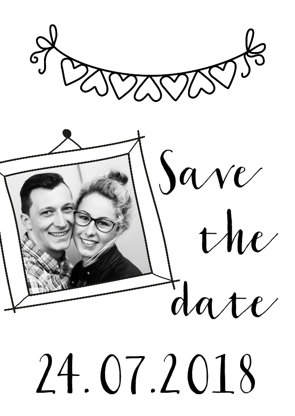 Trouwkaarten - Trouwkaart save the date zwart wit