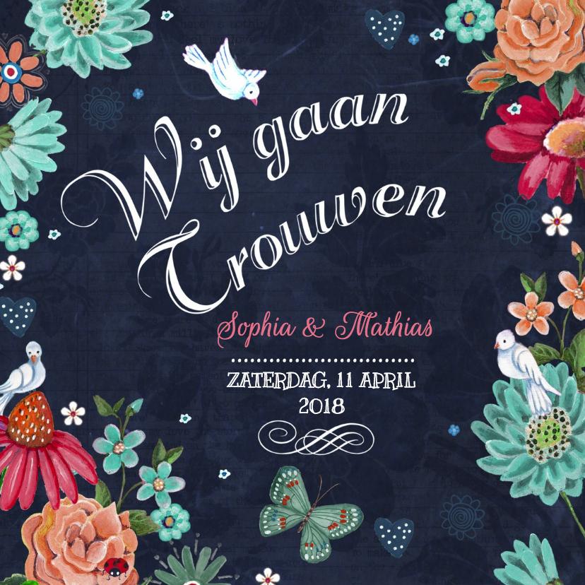 Trouwkaarten - Trouwkaart Schoolbord bloemen