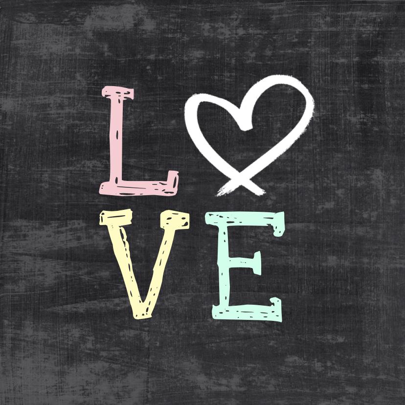 Trouwkaarten - Trouwkaart schoolbord hip love