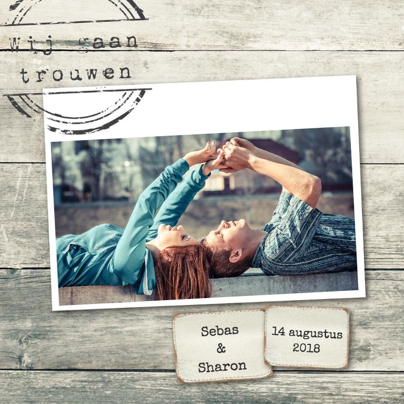 Trouwkaarten - Trouwkaart Sebas en Sharon