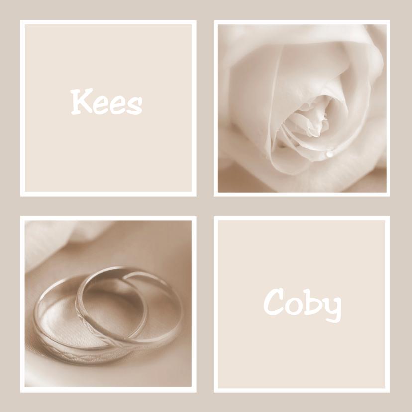 Trouwkaarten - Trouwkaart sepia met roos en ringen