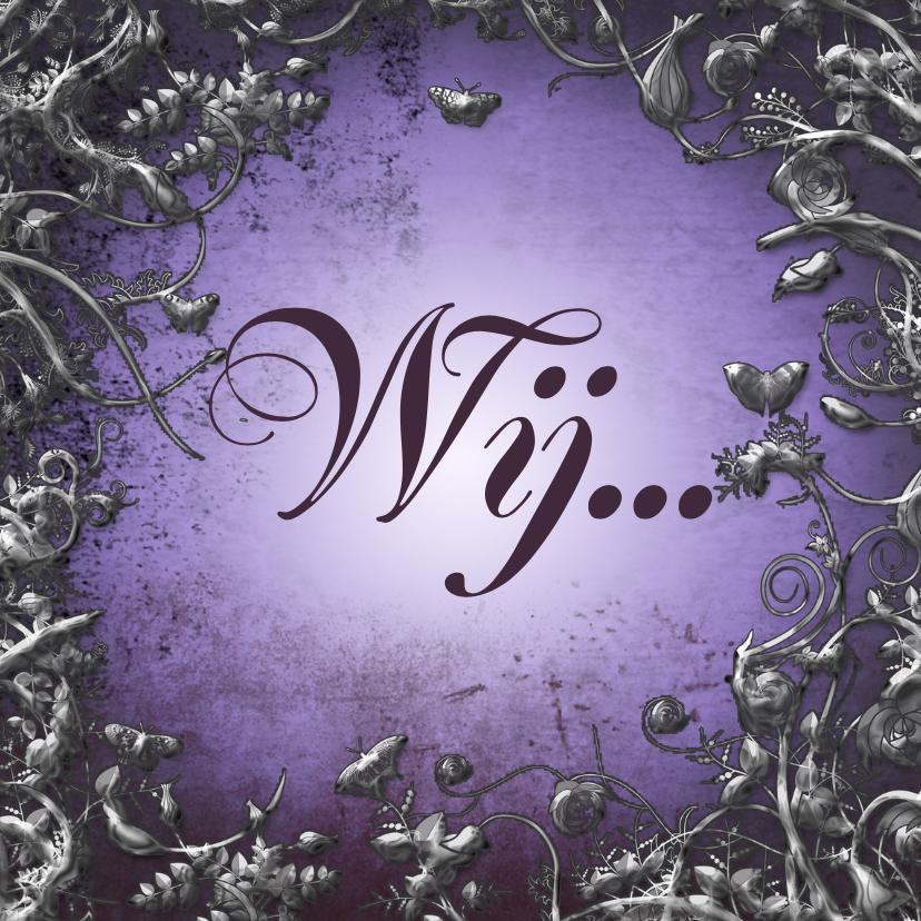 Trouwkaarten - Trouwkaart sier paars en zilver