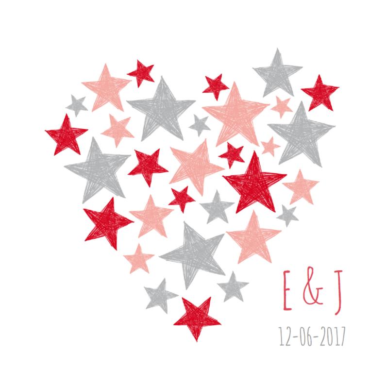 Trouwkaarten - Trouwkaart sterren in hart