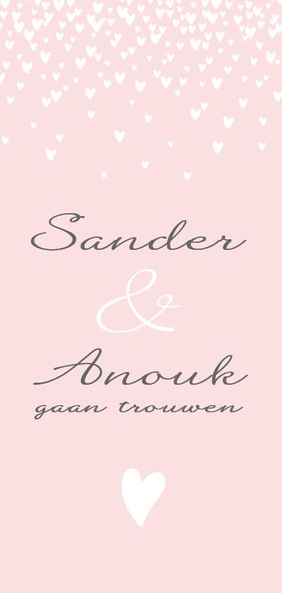 Trouwkaarten - Trouwkaart stijlvol hartjes roze