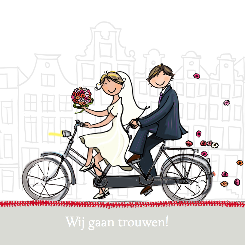 Trouwkaarten - Trouwkaart Tandem Anet Illustraties