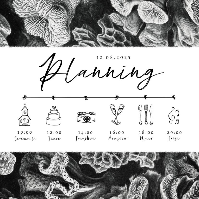 Trouwkaarten - Trouwkaart tijdlijn zwart wit koraal onderwater planning