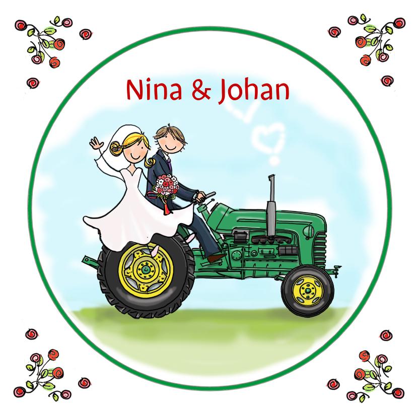 Trouwkaarten - Trouwkaart tractor groen met geel