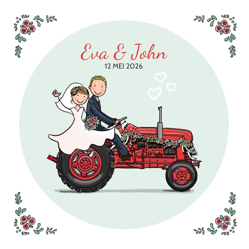 Trouwkaarten - Trouwkaart tractor rood met bruidspaar